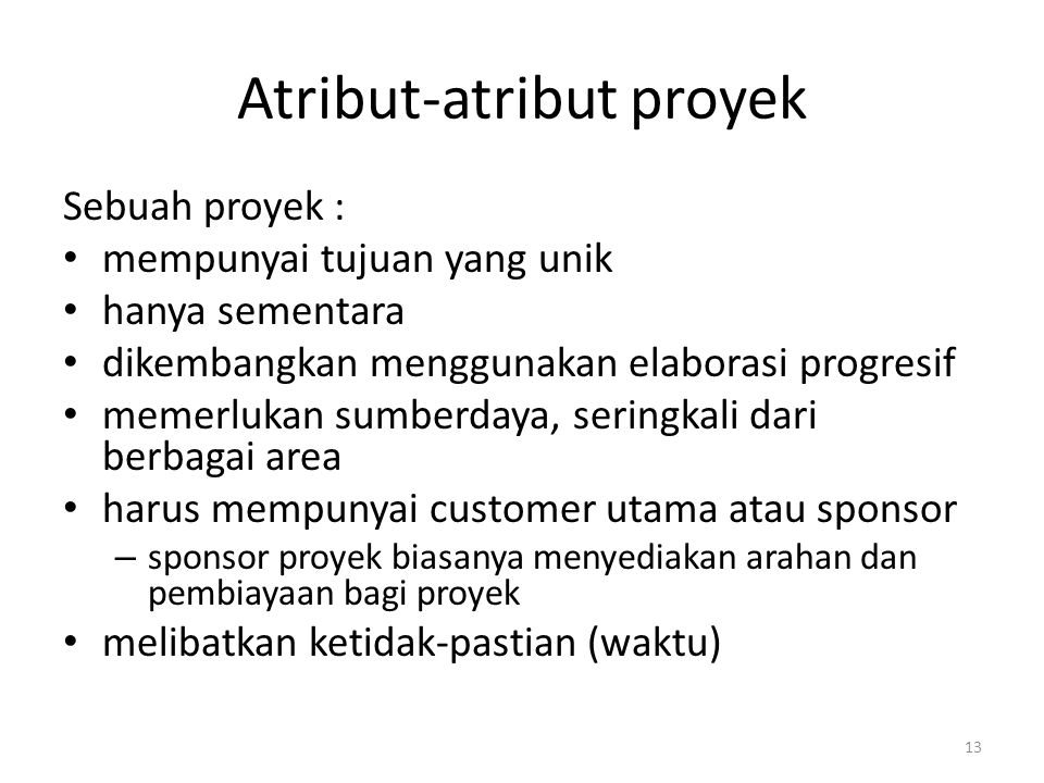 Atribut-atribut proyek
