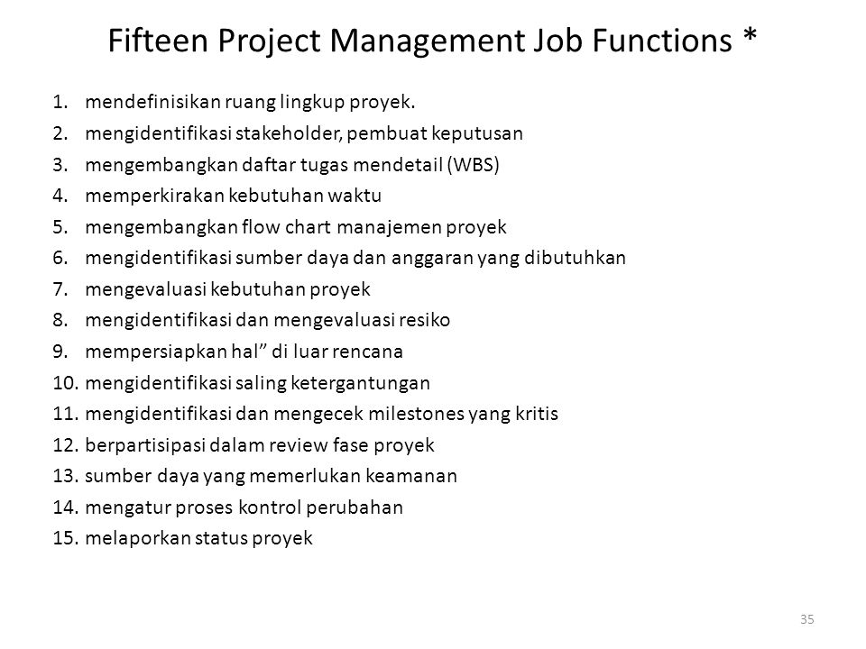 Fifteen Project Management Job Functions *