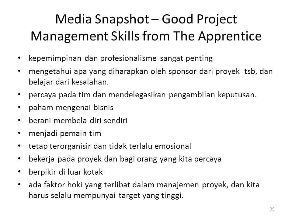 Media Snapshot – Good Project Management Skills from The Apprentice