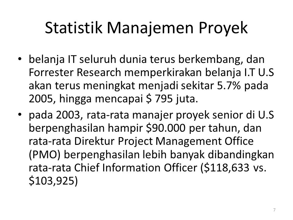 Statistik Manajemen Proyek
