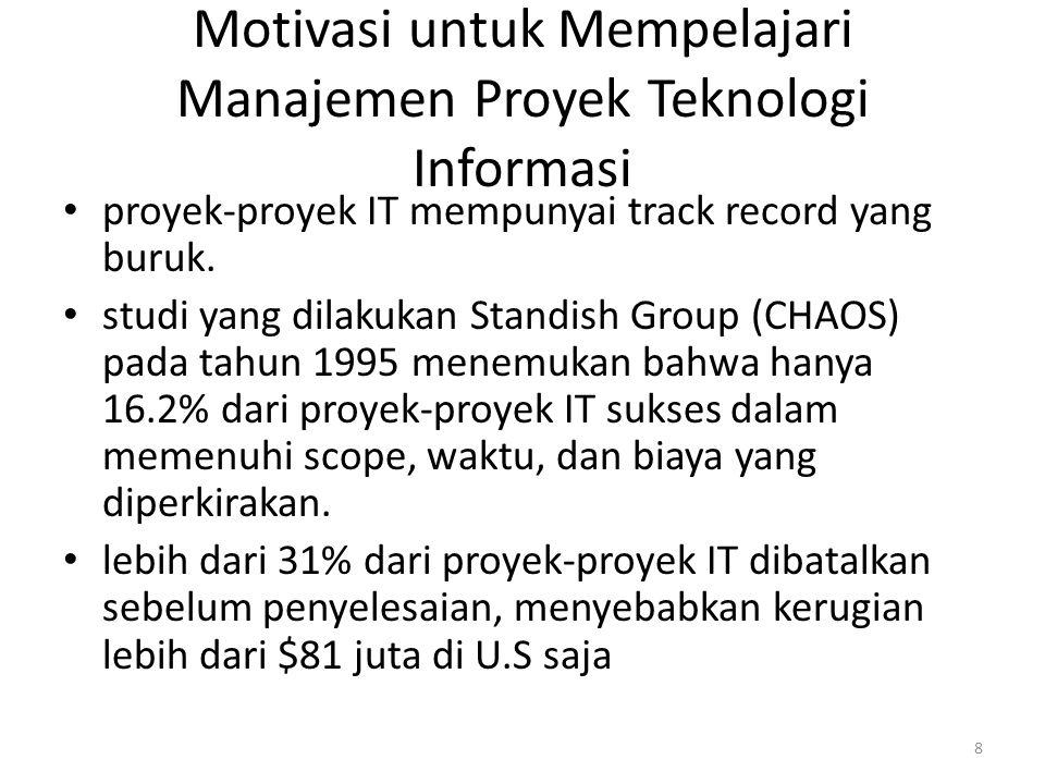 Motivasi untuk Mempelajari Manajemen Proyek Teknologi Informasi