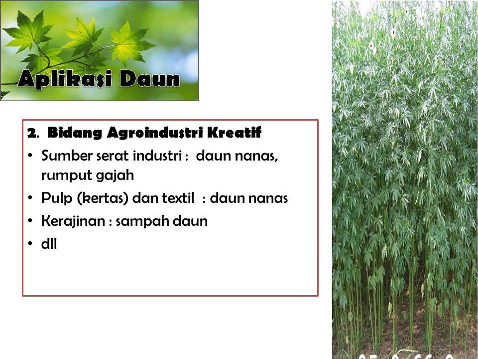 Aplikasi Daun 2. Bidang Agroindustri Kreatif