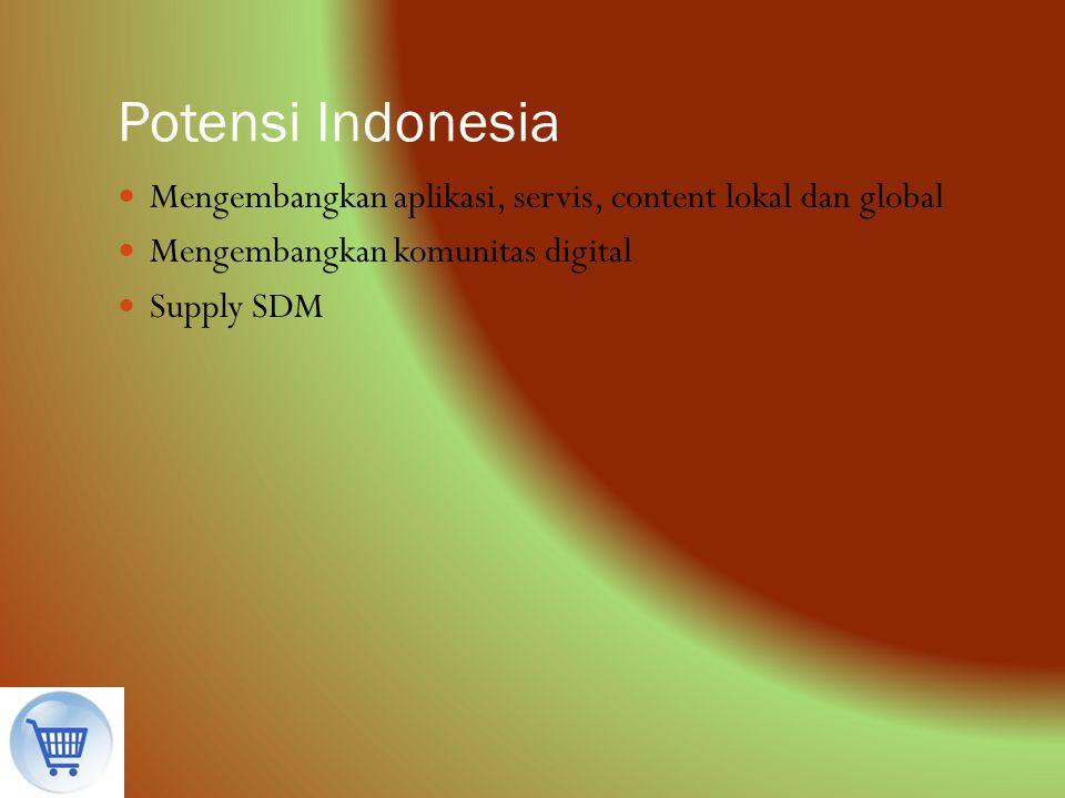 Potensi Indonesia Mengembangkan aplikasi, servis, content lokal dan global. Mengembangkan komunitas digital.