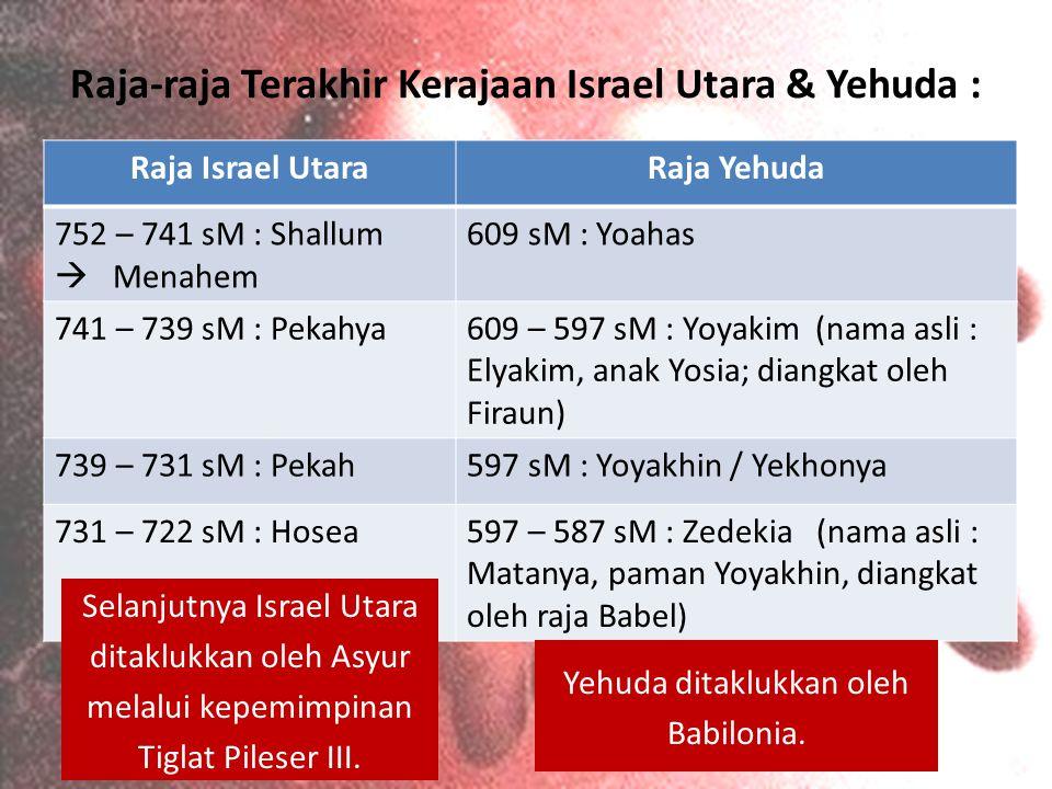 Raja-raja Terakhir Kerajaan Israel Utara & Yehuda :