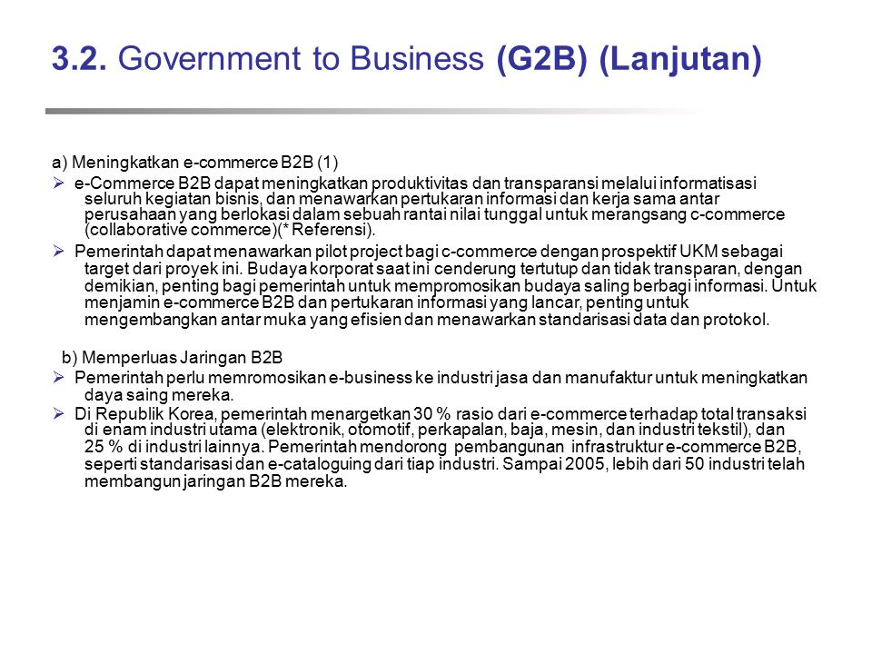 3.2. Government to Business (G2B) (Lanjutan)