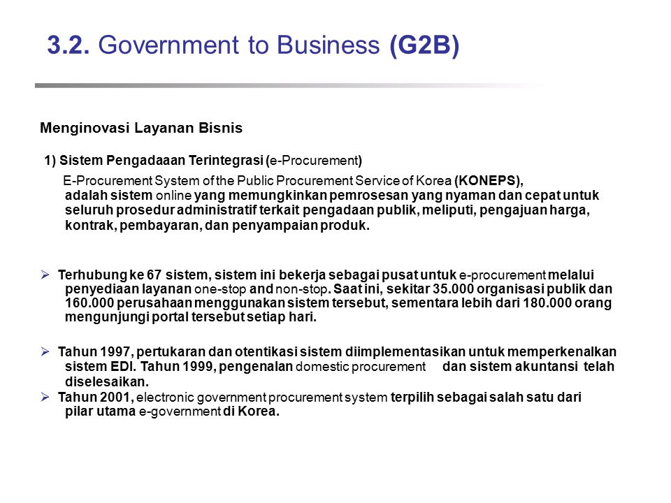 3.2. Government to Business (G2B)