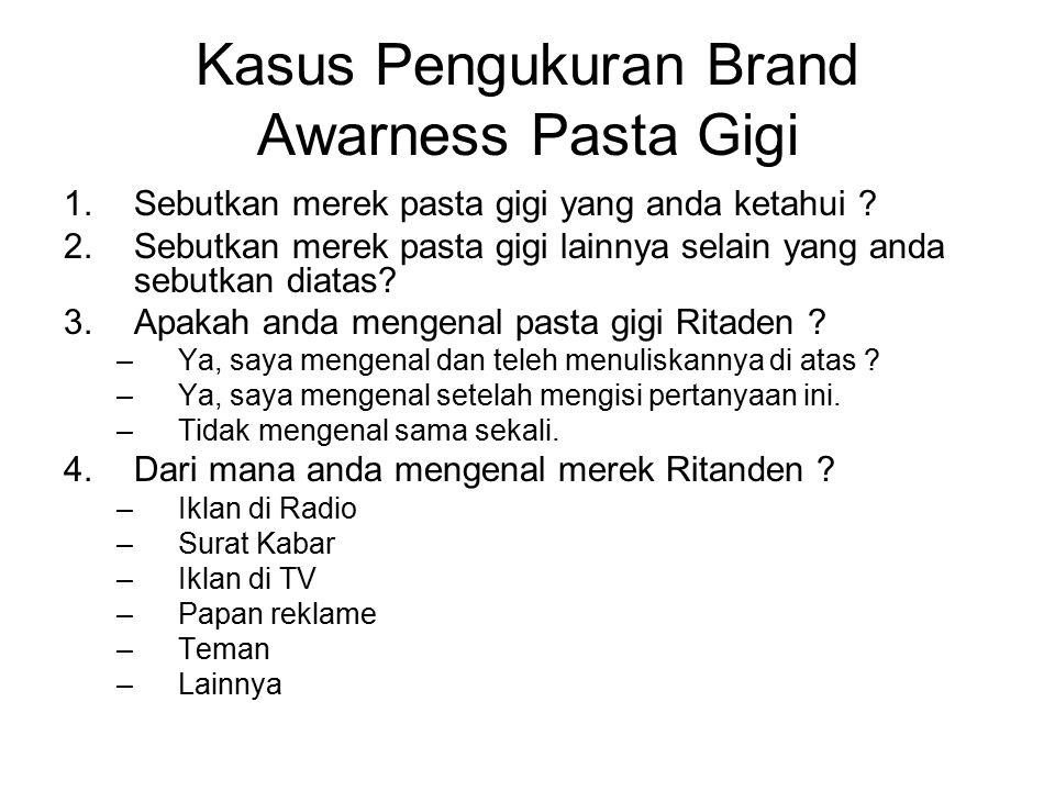 Kasus Pengukuran Brand Awarness Pasta Gigi