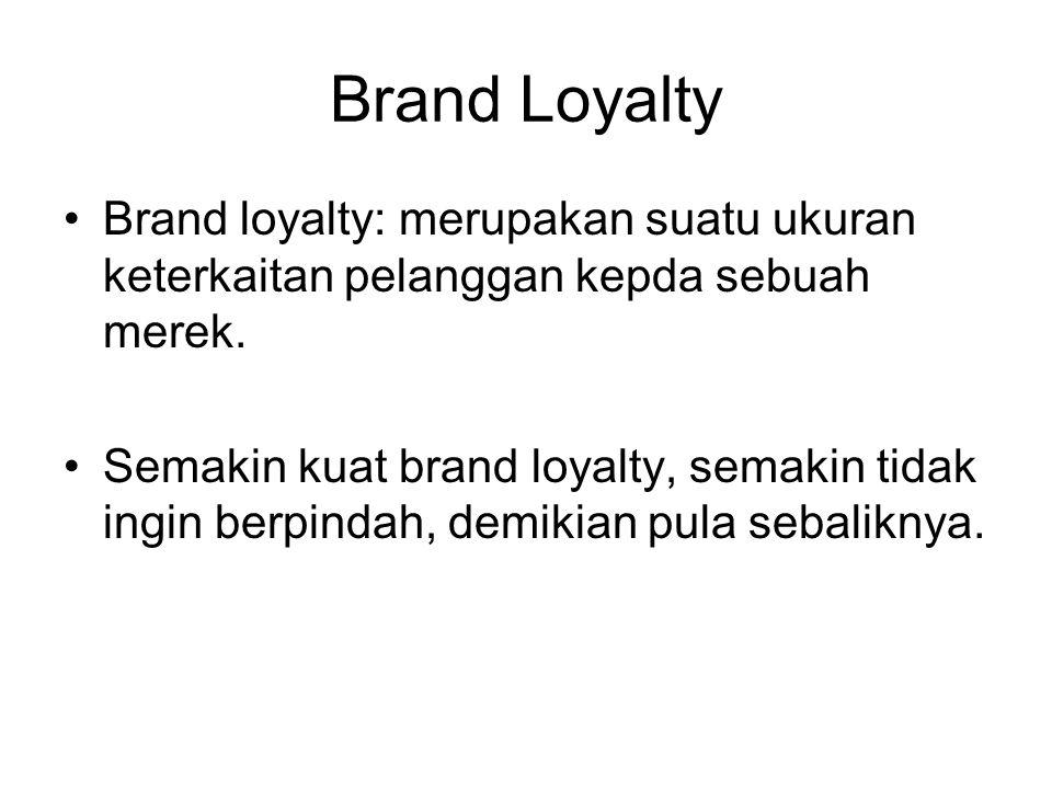 Brand Loyalty Brand loyalty: merupakan suatu ukuran keterkaitan pelanggan kepda sebuah merek.
