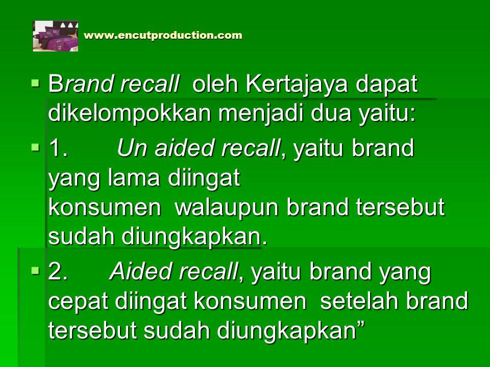 Brand recall oleh Kertajaya dapat dikelompokkan menjadi dua yaitu: