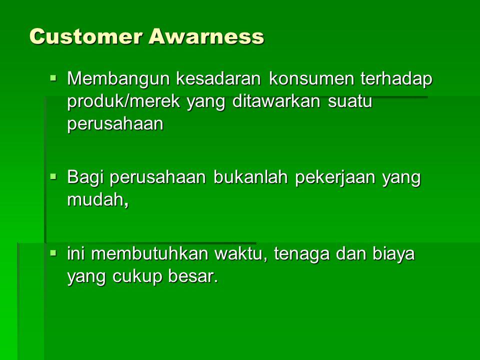 Customer Awarness Membangun kesadaran konsumen terhadap produk/merek yang ditawarkan suatu perusahaan.