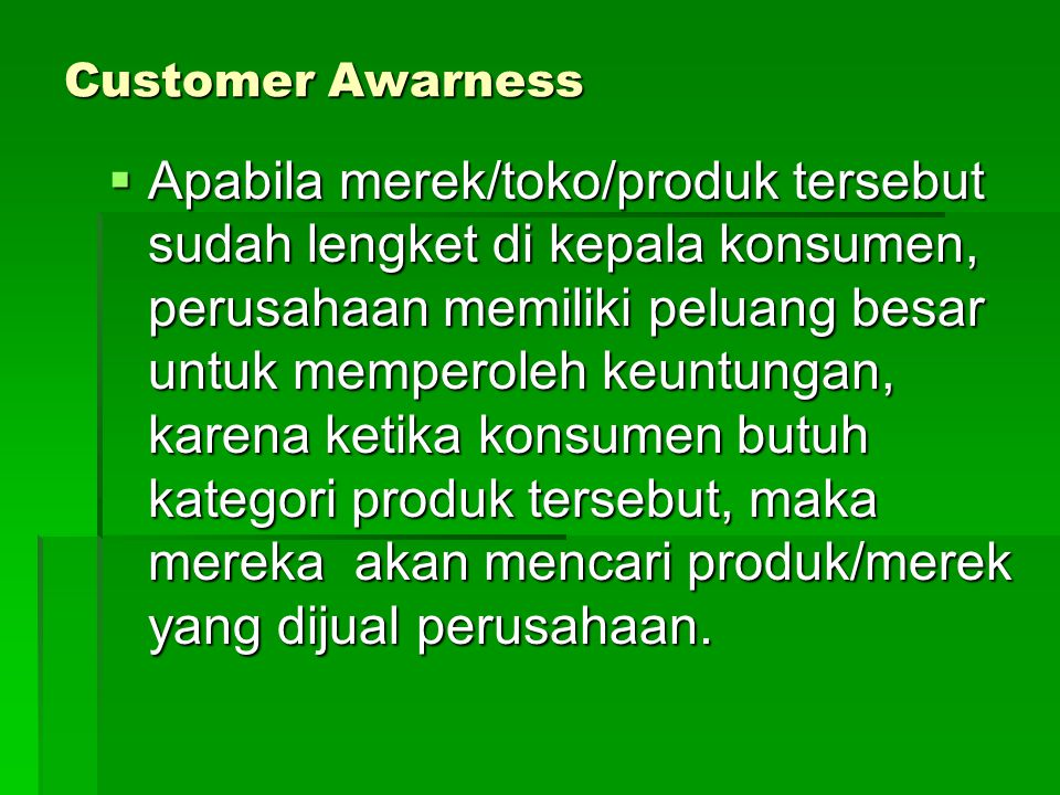 Customer Awarness