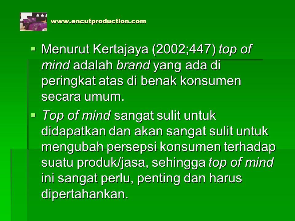 www.encutproduction.com Menurut Kertajaya (2002;447) top of mind adalah brand yang ada di peringkat atas di benak konsumen secara umum.