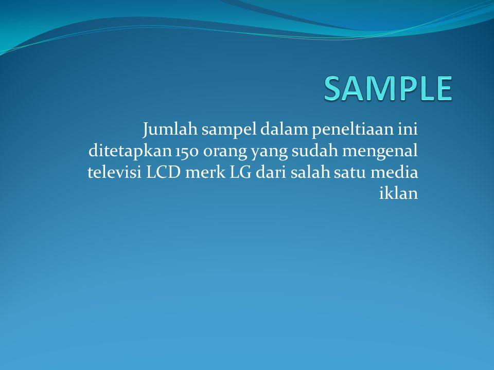 SAMPLE Jumlah sampel dalam peneltiaan ini ditetapkan 150 orang yang sudah mengenal televisi LCD merk LG dari salah satu media iklan.
