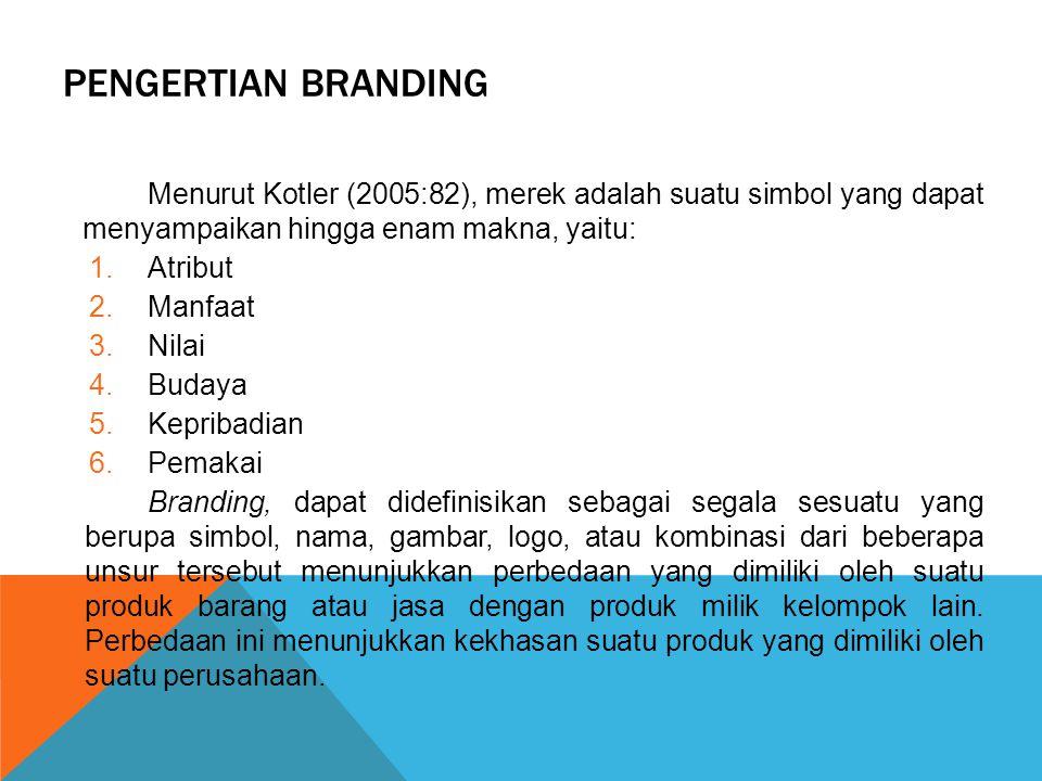 PENGERTIAN BRANDING Menurut Kotler (2005:82), merek adalah suatu simbol yang dapat menyampaikan hingga enam makna, yaitu: