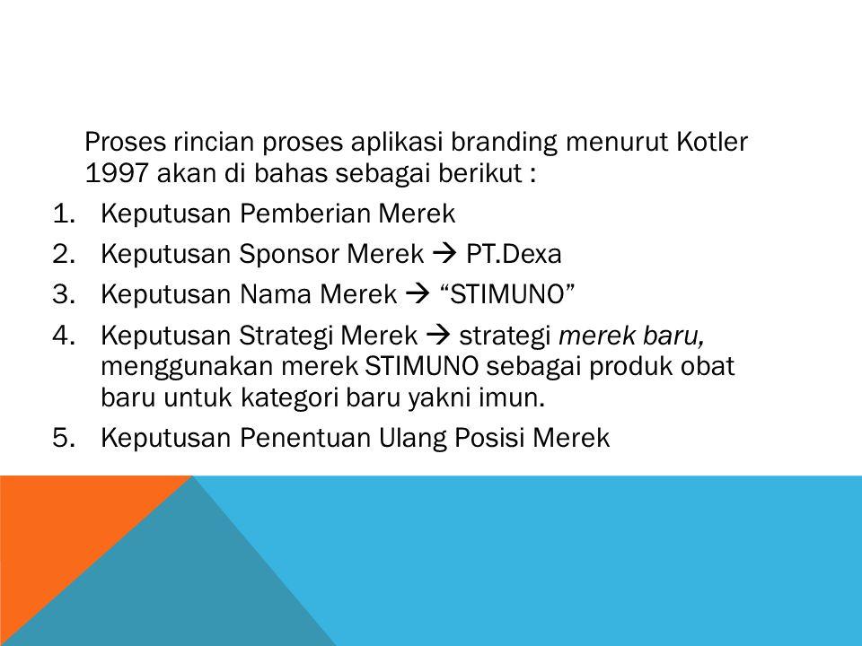 Proses rincian proses aplikasi branding menurut Kotler 1997 akan di bahas sebagai berikut :