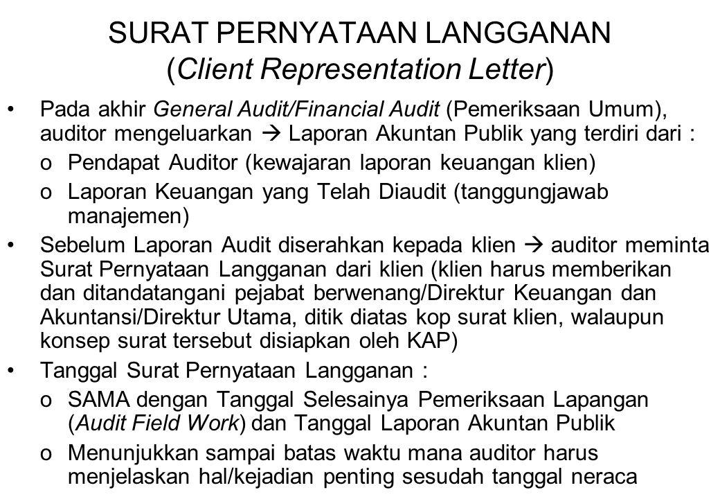 SURAT PERNYATAAN LANGGANAN (Client Representation Letter)