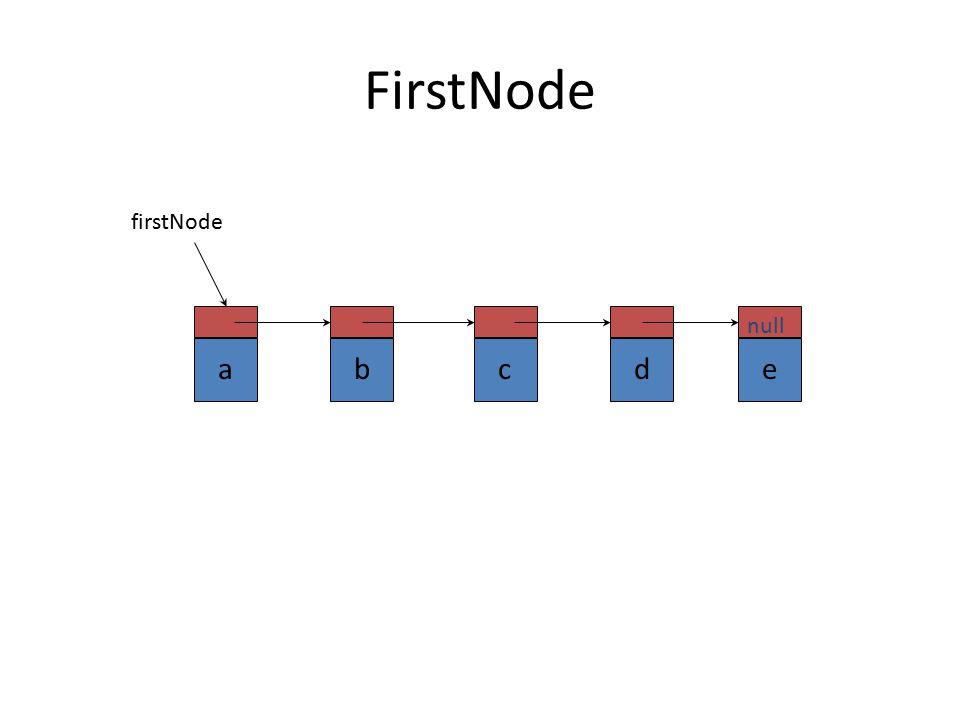 FirstNode a b c d e null firstNode