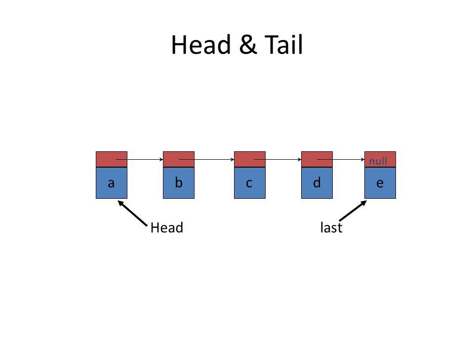 Head & Tail a b c d e null Head last