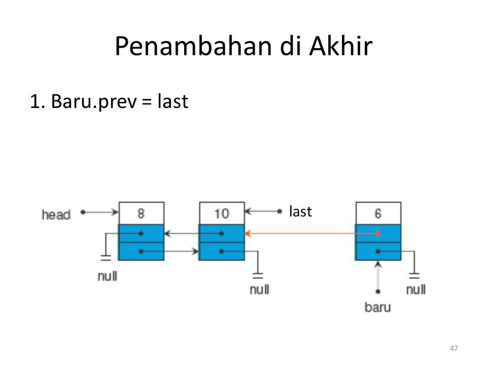 Penambahan di Akhir 1. Baru.prev = last last