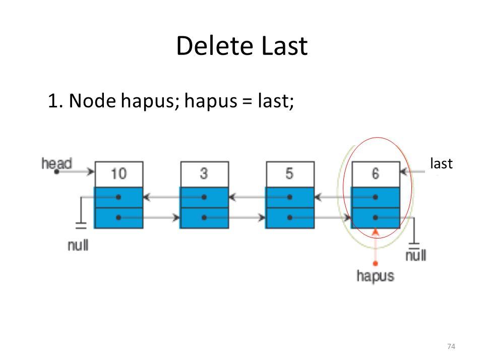 Delete Last 1. Node hapus; hapus = last; last