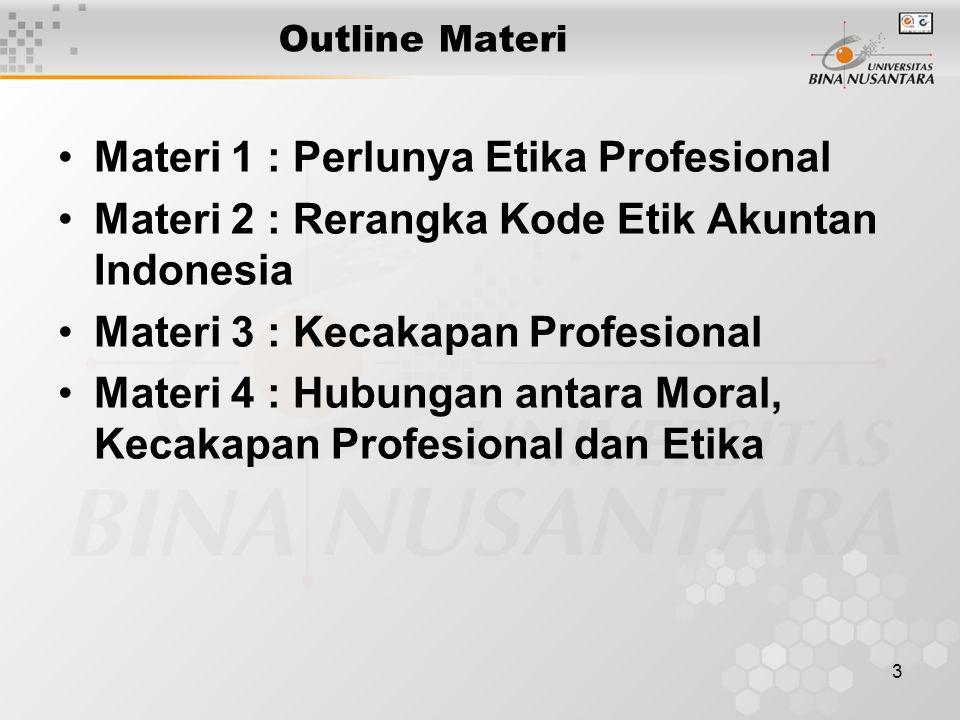 Materi 1 : Perlunya Etika Profesional