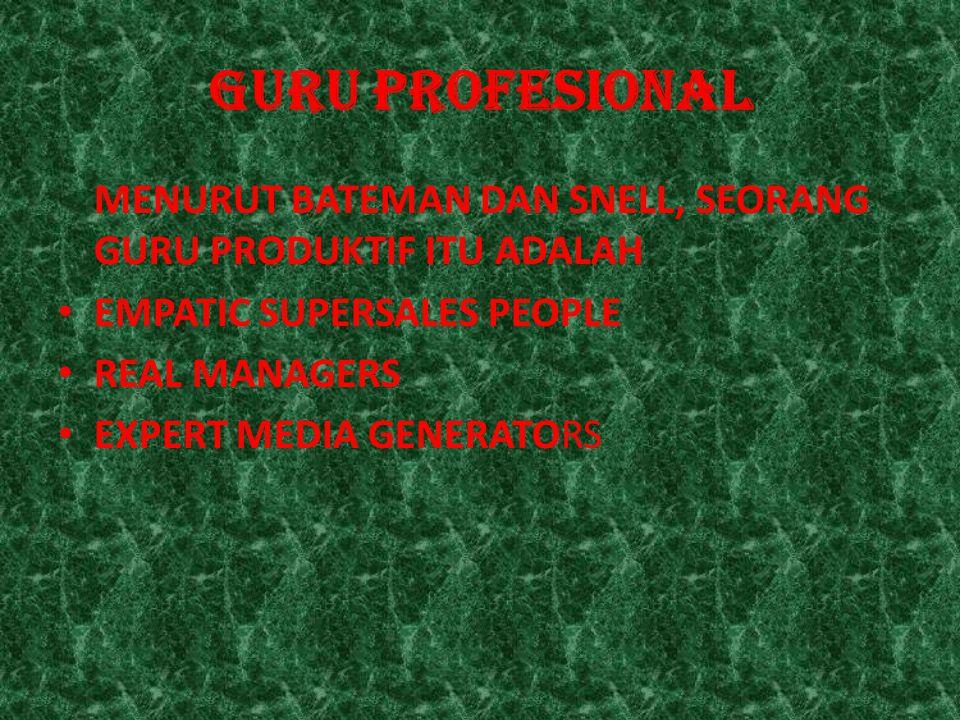 GURU PROFESIONAL MENURUT BATEMAN DAN SNELL, SEORANG GURU PRODUKTIF ITU ADALAH. EMPATIC SUPERSALES PEOPLE.
