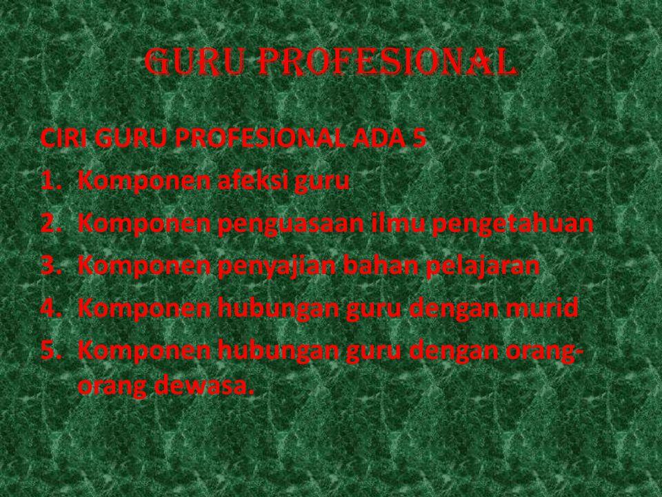 GURU PROFESIONAL CIRI GURU PROFESIONAL ADA 5 Komponen afeksi guru