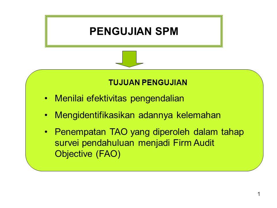 PENGUJIAN SPM Menilai efektivitas pengendalian