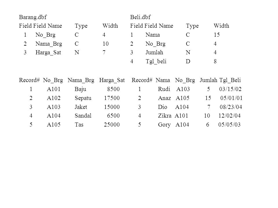 Barang.dbf Beli.dbf Field Field Name Type Width Field Field Name Type Width. 1 No_Brg C 4 1 Nama C 15.