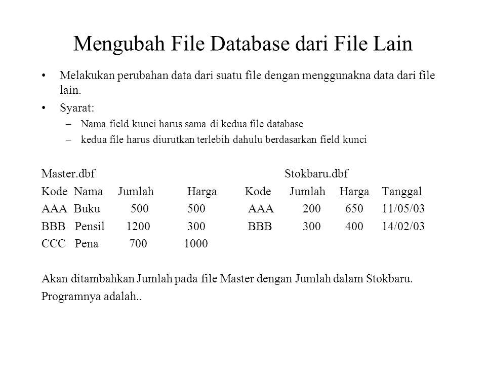 Mengubah File Database dari File Lain