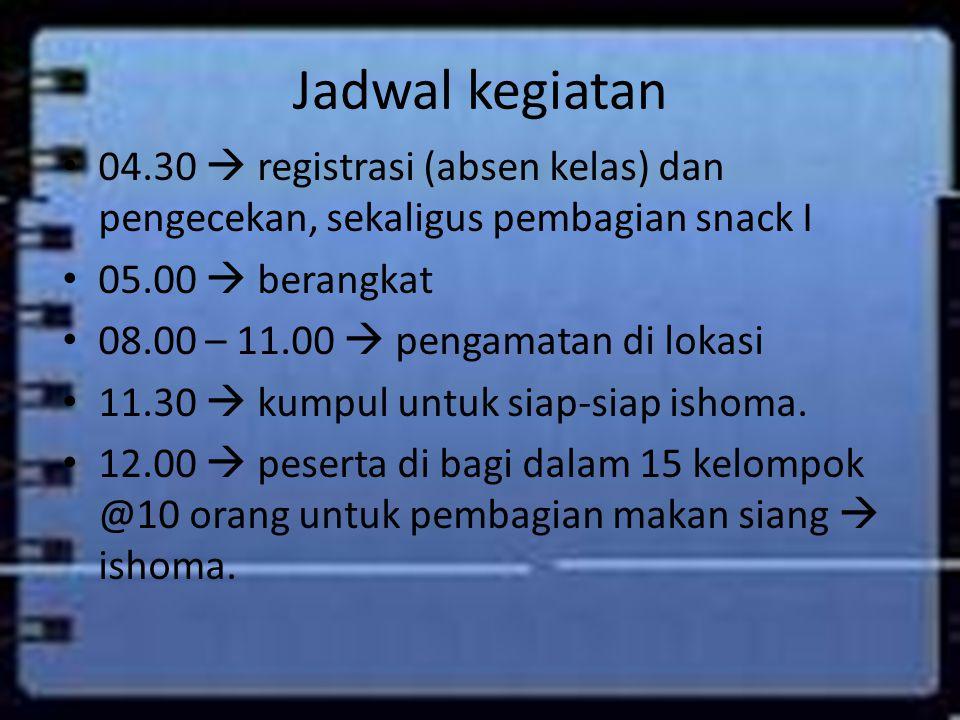 Jadwal kegiatan 04.30  registrasi (absen kelas) dan pengecekan, sekaligus pembagian snack I. 05.00  berangkat.