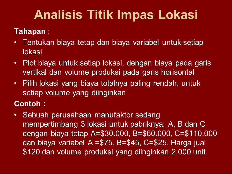 Analisis Titik Impas Lokasi