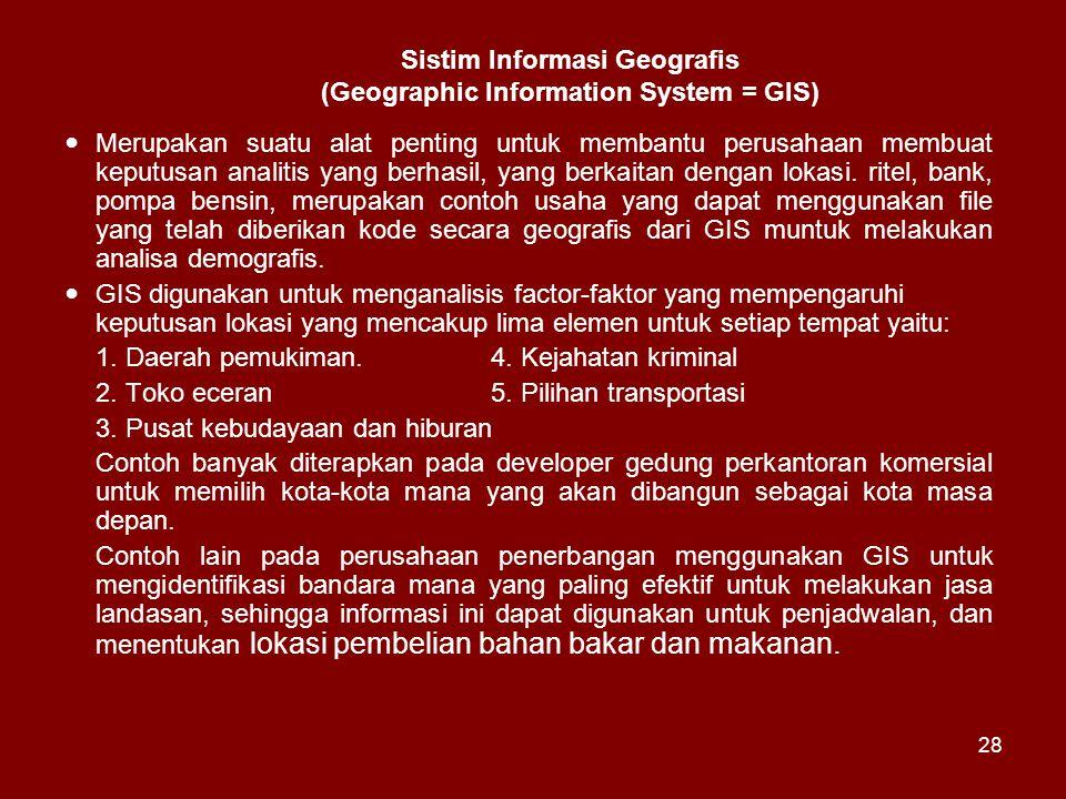 Sistim Informasi Geografis (Geographic Information System = GIS)
