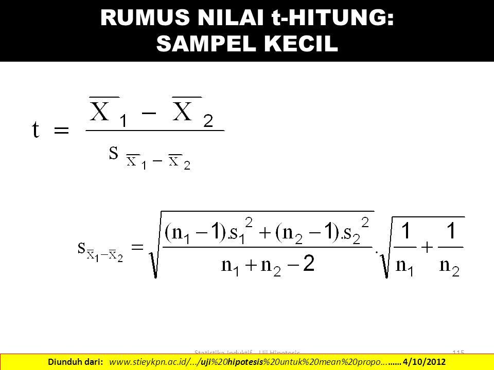 RUMUS NILAI t-HITUNG: SAMPEL KECIL