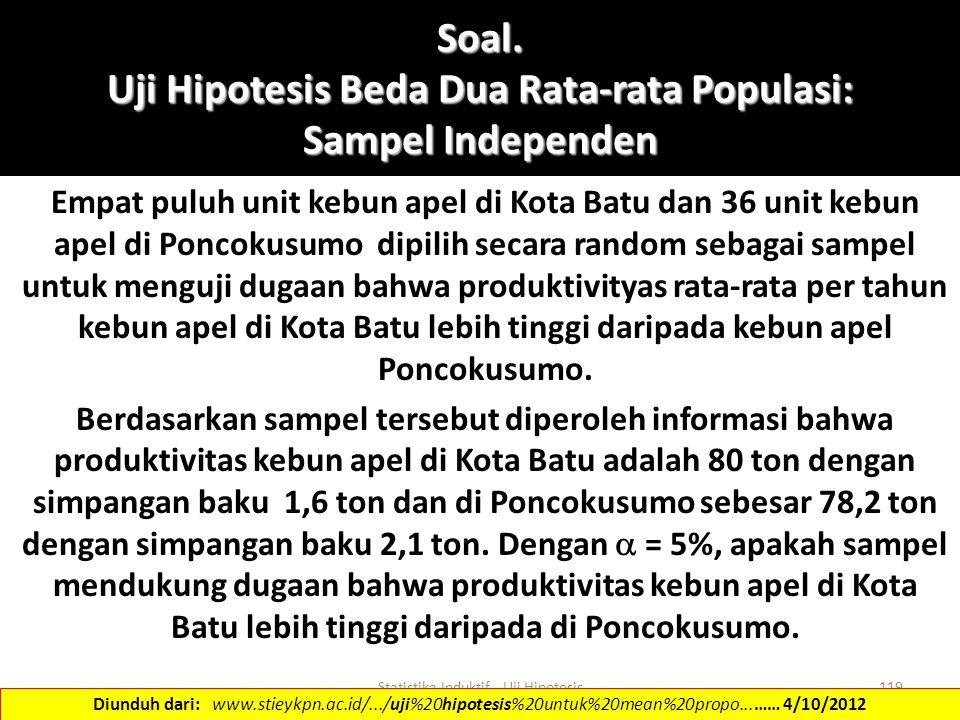 Soal. Uji Hipotesis Beda Dua Rata-rata Populasi: Sampel Independen