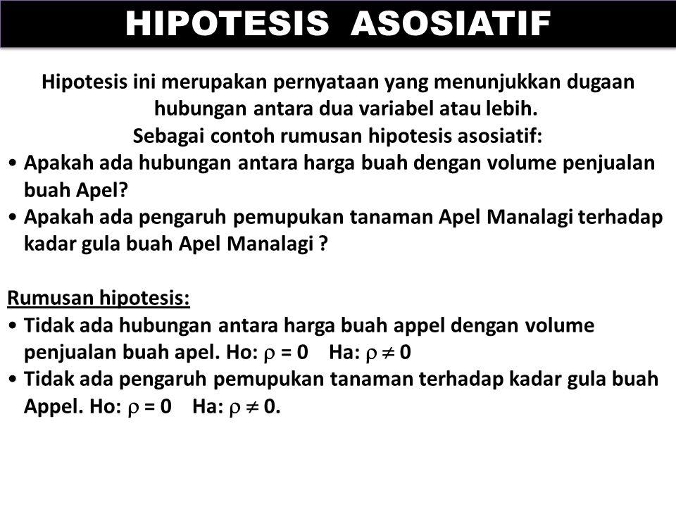 Sebagai contoh rumusan hipotesis asosiatif: