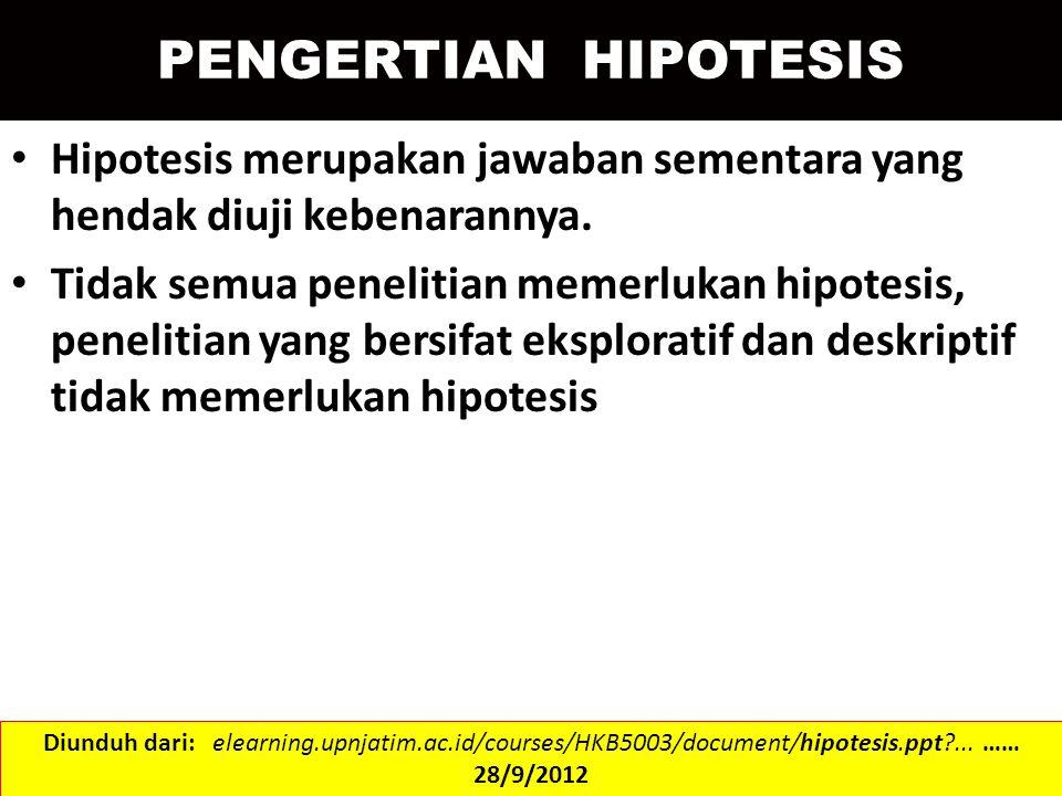 PENGERTIAN HIPOTESIS Hipotesis merupakan jawaban sementara yang hendak diuji kebenarannya.