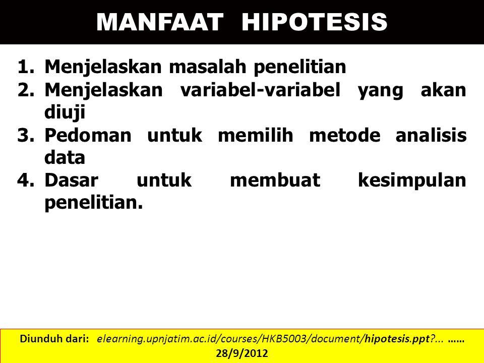 MANFAAT HIPOTESIS Menjelaskan masalah penelitian