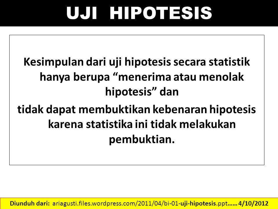UJI HIPOTESIS Kesimpulan dari uji hipotesis secara statistik hanya berupa menerima atau menolak hipotesis dan.