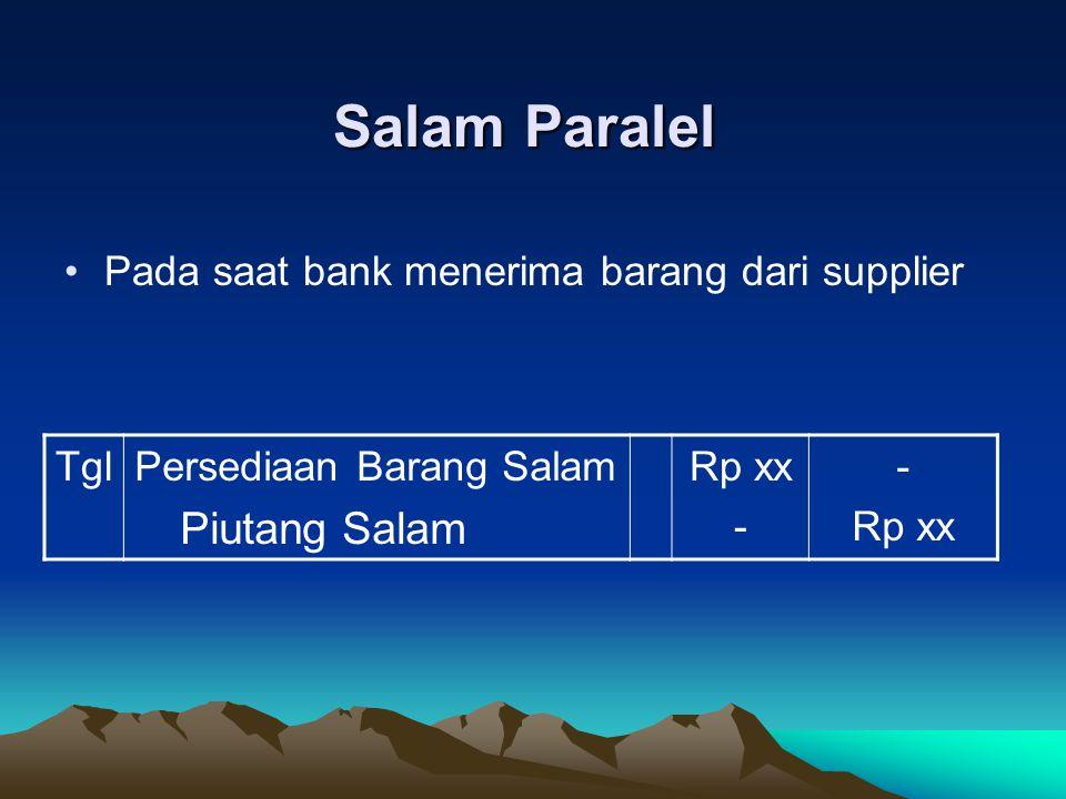Salam Paralel Pada saat bank menerima barang dari supplier Tgl
