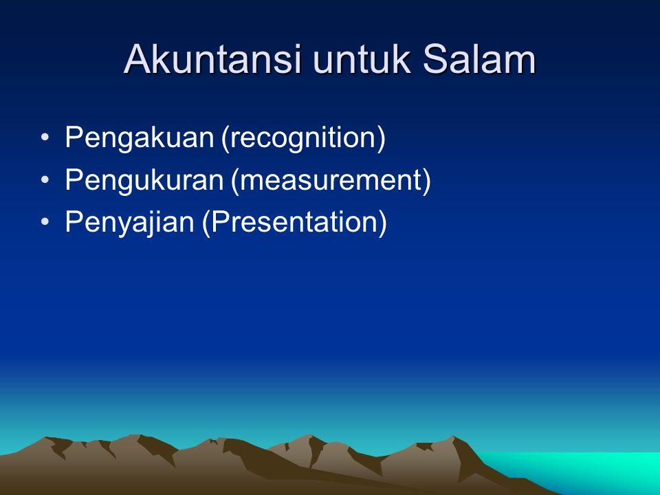 Akuntansi untuk Salam Pengakuan (recognition) Pengukuran (measurement)