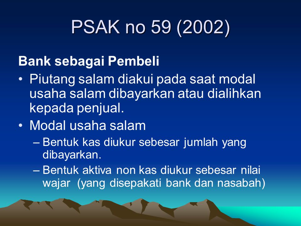 PSAK no 59 (2002) Bank sebagai Pembeli