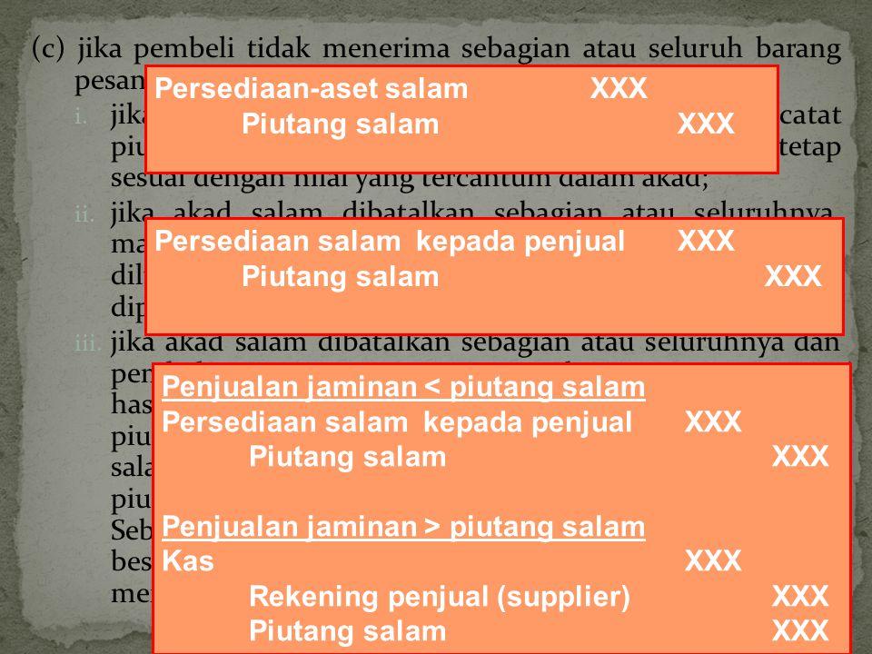 (c) jika pembeli tidak menerima sebagian atau seluruh barang pesanan pada tanggal jatuh tempo pengiriman, maka: