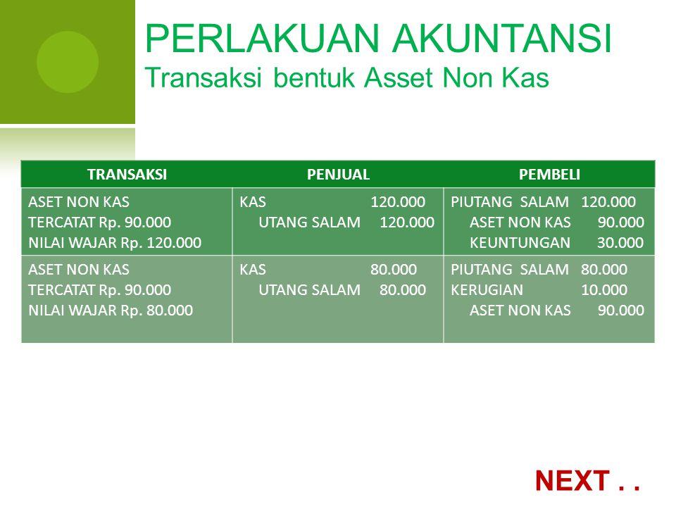 PERLAKUAN AKUNTANSI Transaksi bentuk Asset Non Kas NEXT . . TRANSAKSI