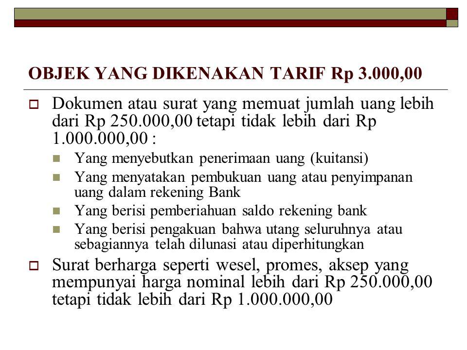 OBJEK YANG DIKENAKAN TARIF Rp 3.000,00