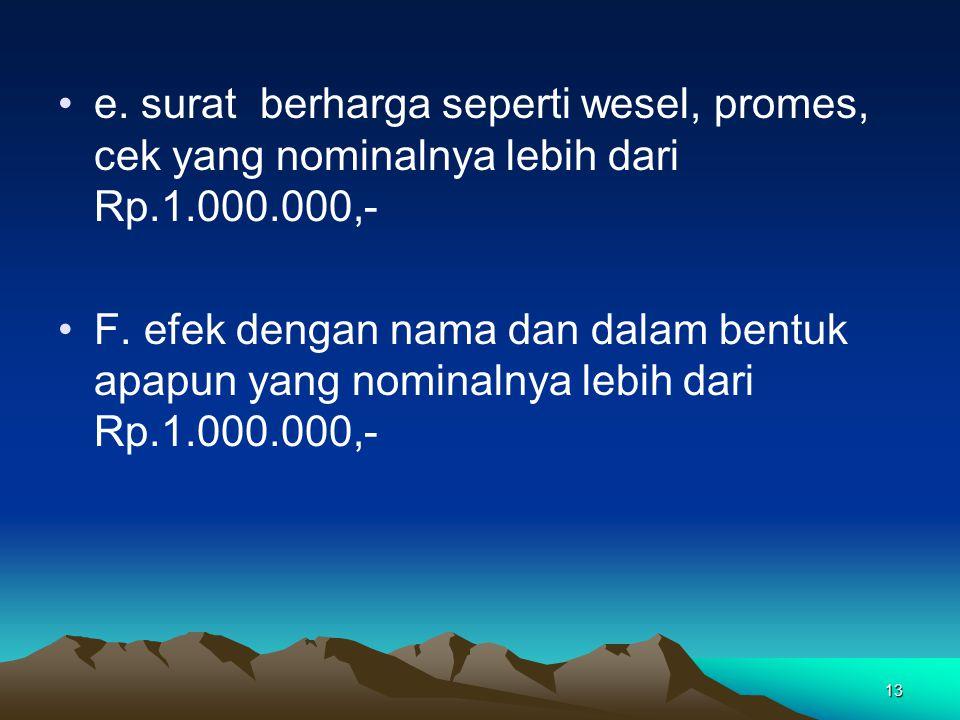 e. surat berharga seperti wesel, promes, cek yang nominalnya lebih dari Rp.1.000.000,-