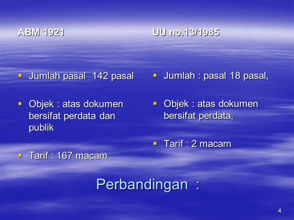 Perbandingan : UU no.13/1985 ABM 1921 Jumlah : pasal 18 pasal,