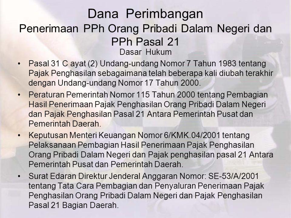 Dana Perimbangan Penerimaan PPh Orang Pribadi Dalam Negeri dan PPh Pasal 21