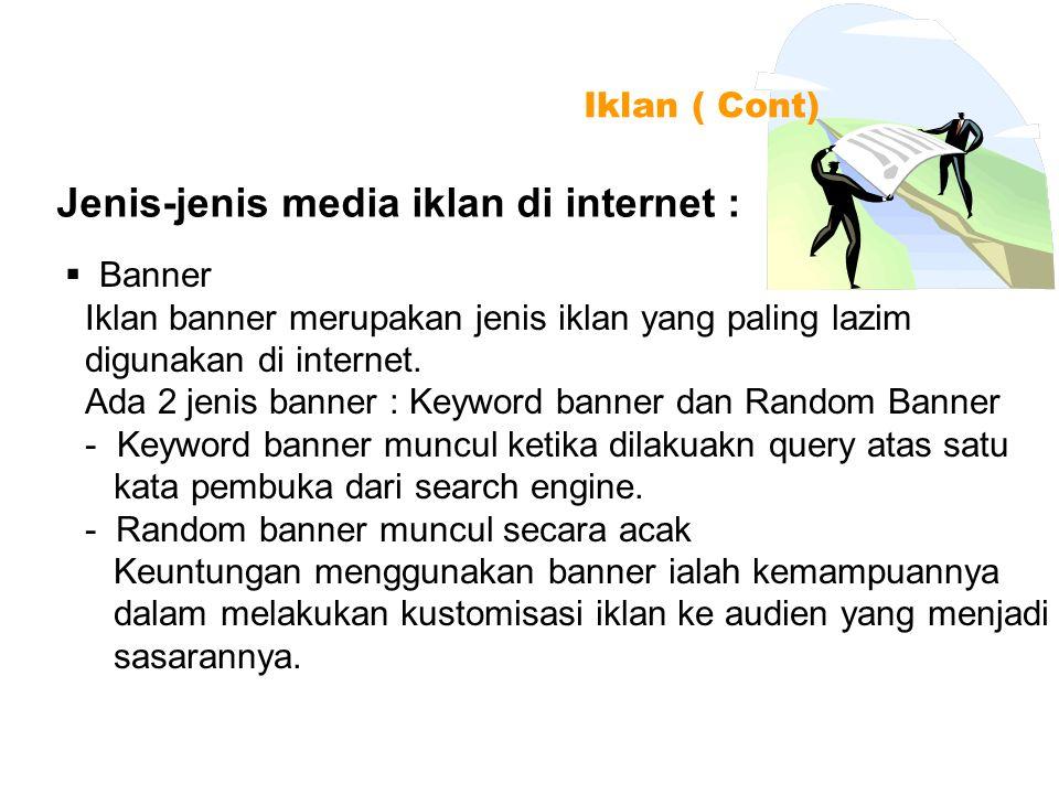 Jenis-jenis media iklan di internet :