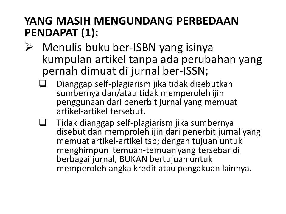YANG MASIH MENGUNDANG PERBEDAAN PENDAPAT (1):